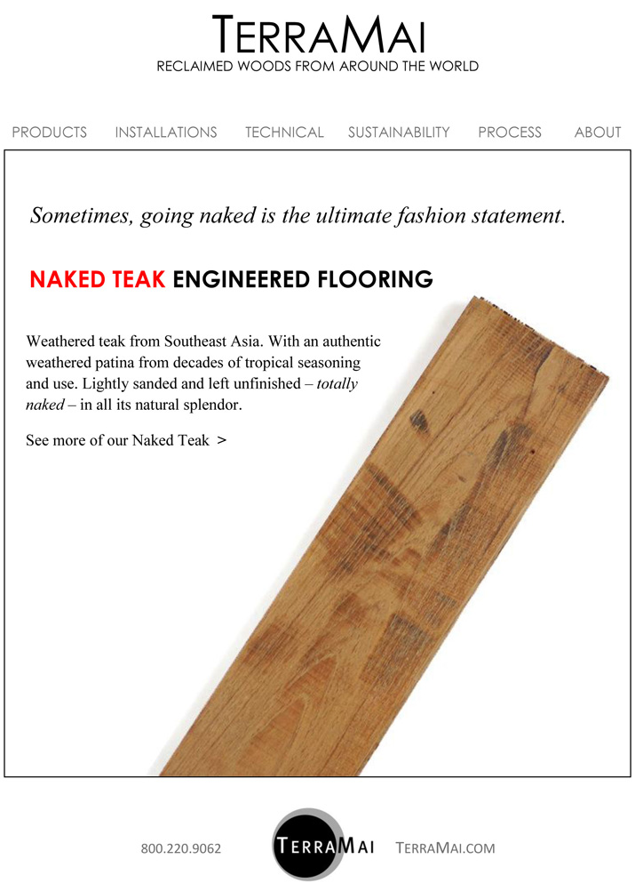 Terramai naked teak ecard for Terramai flooring