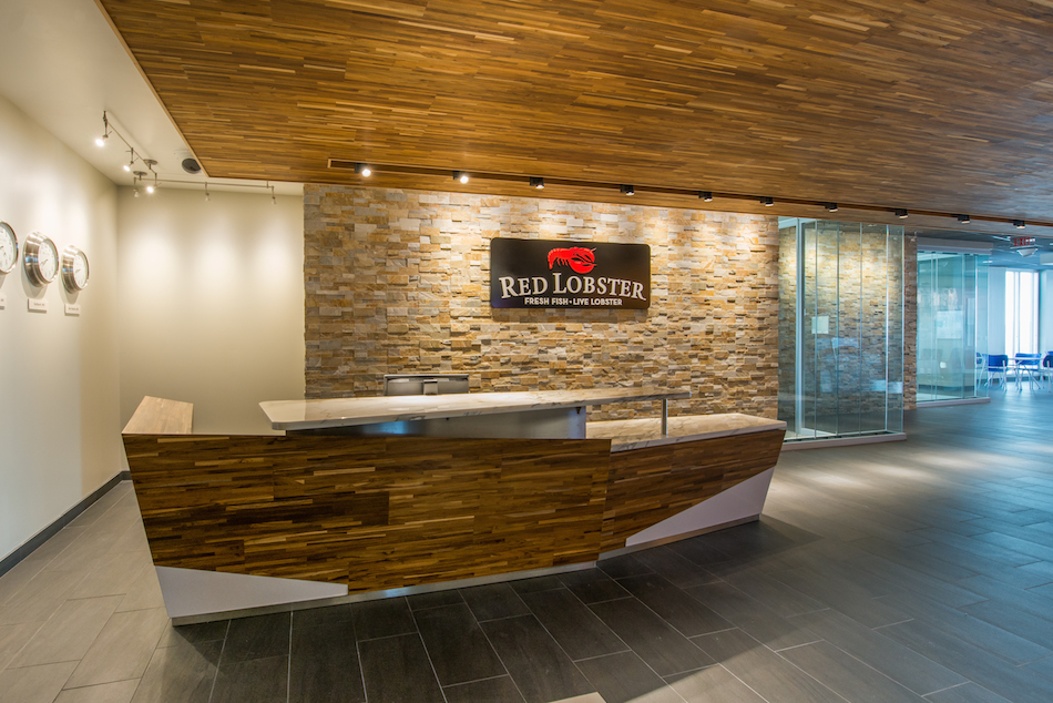Red Lobster, Orlando - Reclaimed Teak Metro Paneling by TerraMai