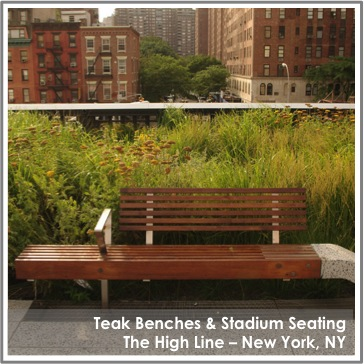 Reclaimed Teak Benches by TerraMai at High Line NY