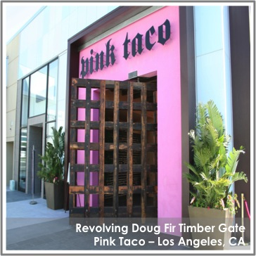 Reclaimed Doug Fir Revolving Gate by TerraMai at Pink Taco Los Angeles