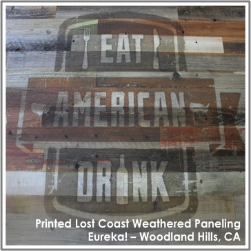 Reclaimed Printed Weathered Lost Coast Redwood Paneling at Eureka!, Woodland Hills, CA