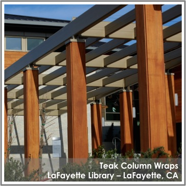 Reclaimed Teak Column Wraps by TerraMai at the LaFayette Library in CA