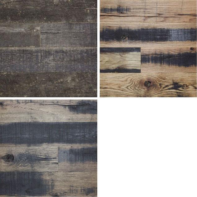 Reclaimed dark horse flooring paneling for Terramai flooring