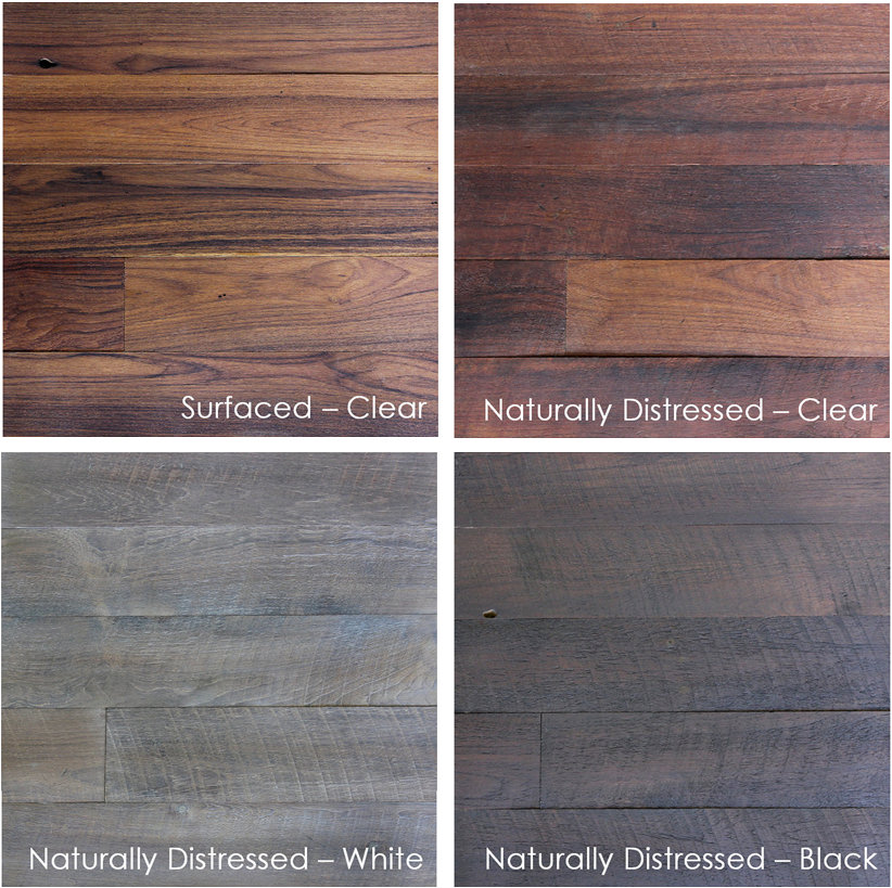 Reclaimed weathered long plank teak flooring paneling for Terramai flooring