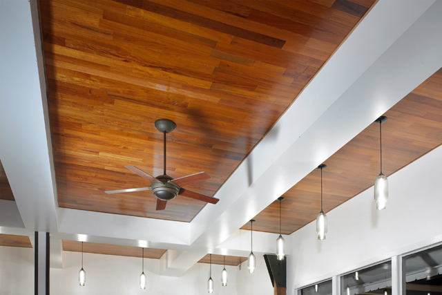 recycled teak flooring and paneling installation photos