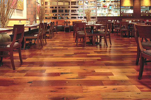Isla Restaurant - Reclaimed Tropical Wood Flooring - Isla Restaurant, Las Vegas - Reclaimed Tropical Wood Flooring By