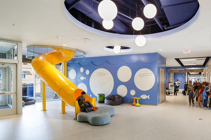Slide inside the Discovery Elementary School
