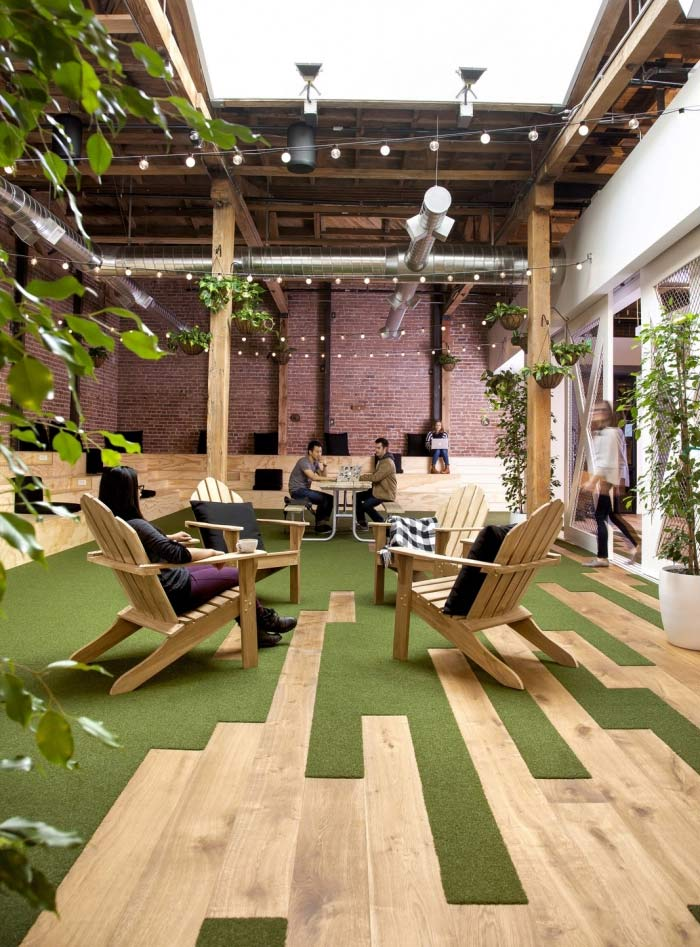 Github's office includes wood and green materials