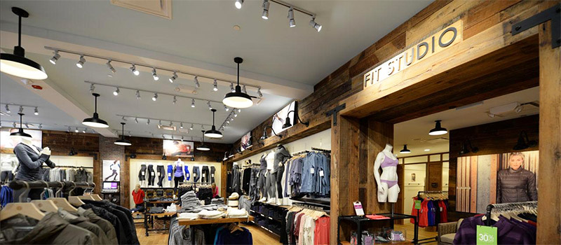 Rustic wood paneling gives this store an outdoorsy feel