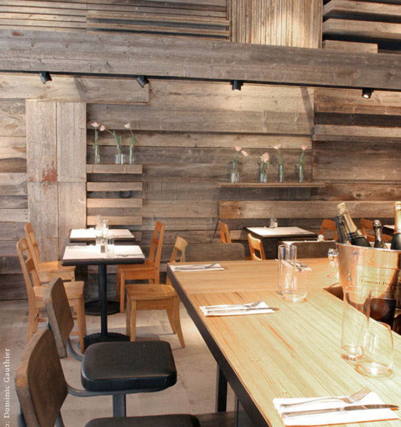 Restaurant with rustic wood paneling