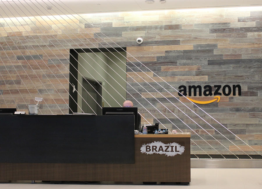 Amazon Seattle Office uses Reclaimed Wood Paneling