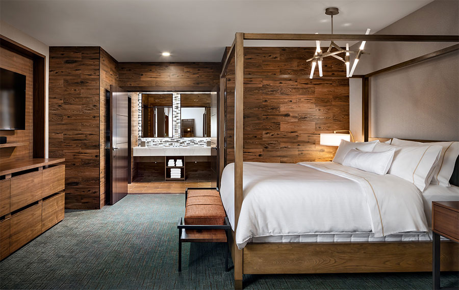 Westin Buffalo hotel rooms included plenty of weathered wood