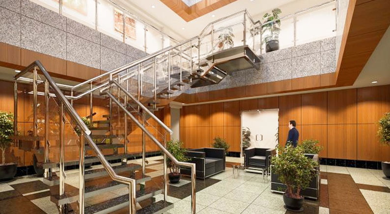 Aberdeen Corporate Park Lobby incorporates biophilic design