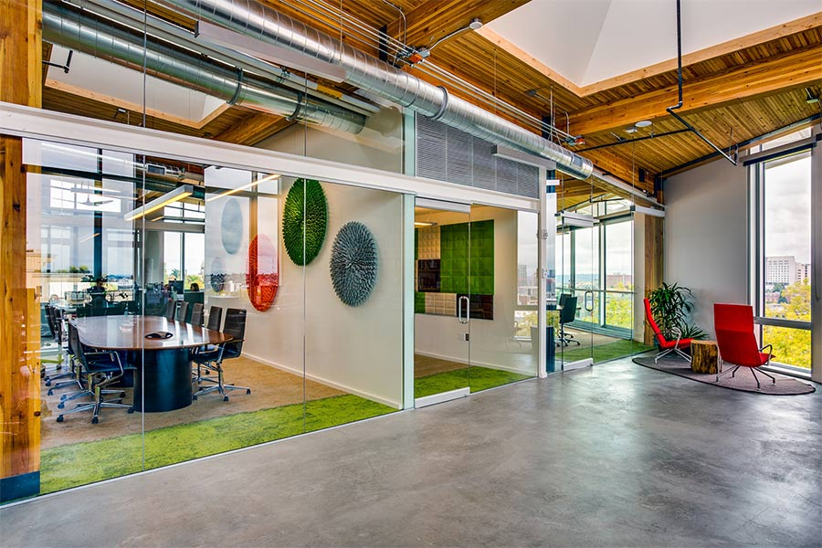 Bullitt Foundation uses wood through office to facilitate strong connection to nature