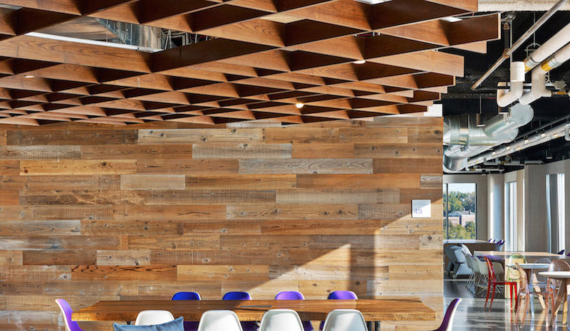 Jet.com's reclaimed redwood paneling wall