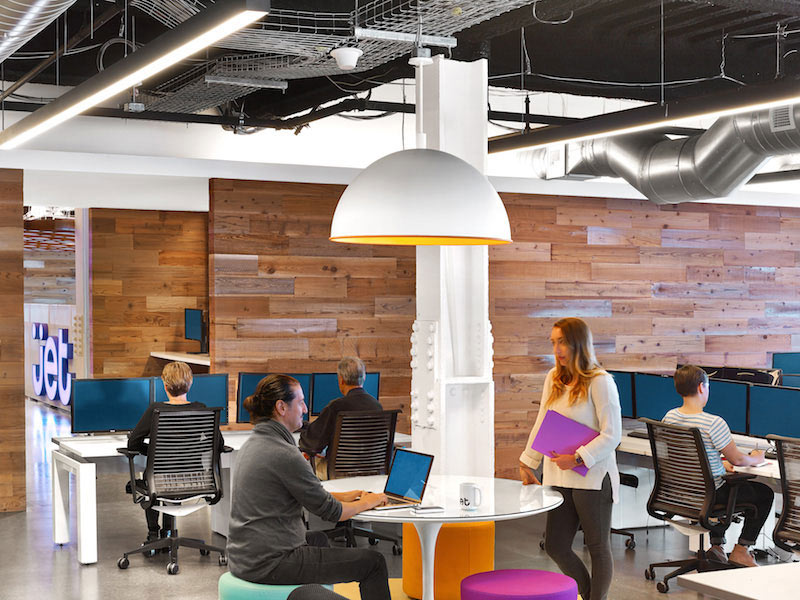 Jet.com's office uses reclaimed wood and copious lighting
