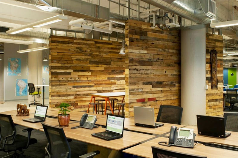 Wood in Kiva's office contributes to employee wellness