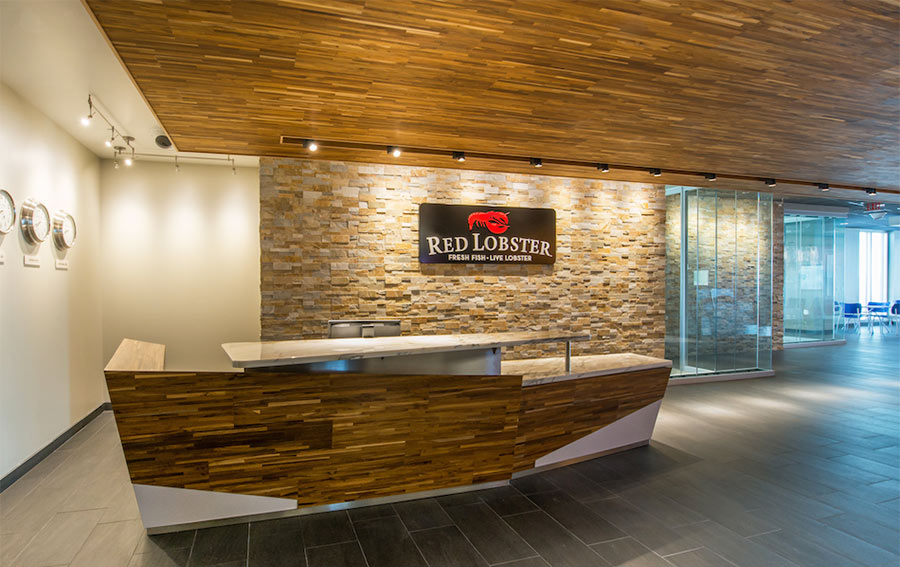Red Lobster Headquarter Lobby uses reclaimed Teak paneling
