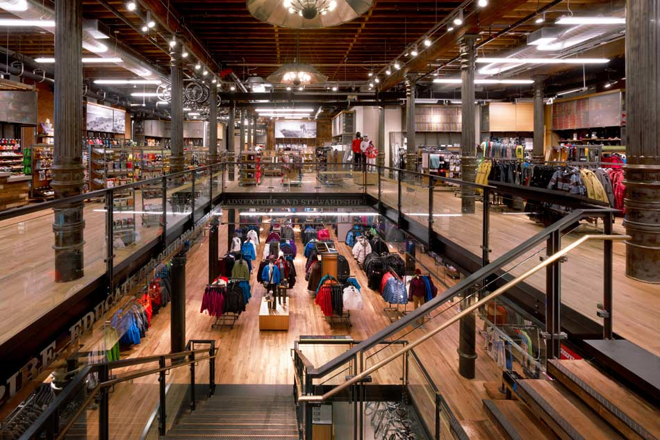 REI SoHo features expansive reclaimed wood flooring