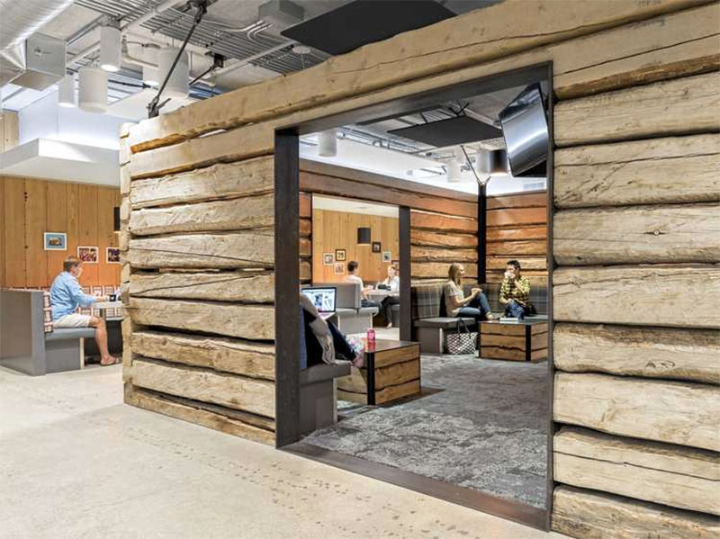 Salvaged cabin wood is used for Twitter's cafeteria