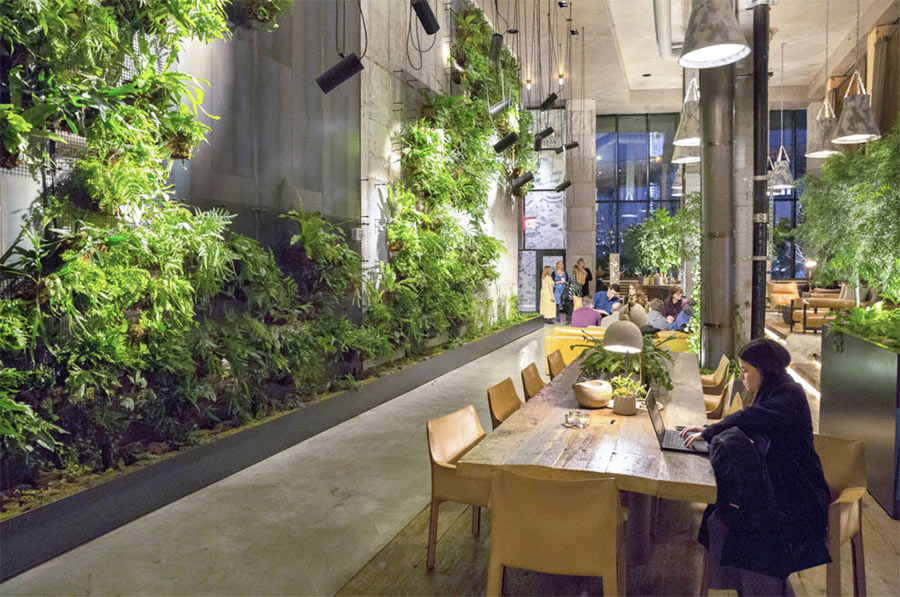 1 Hotel in Brooklyn turned a space into a indoor garden
