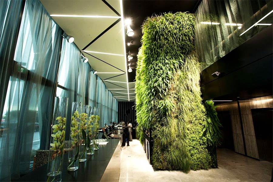 Living wall at Novotel Hotel in Aukland International Airport