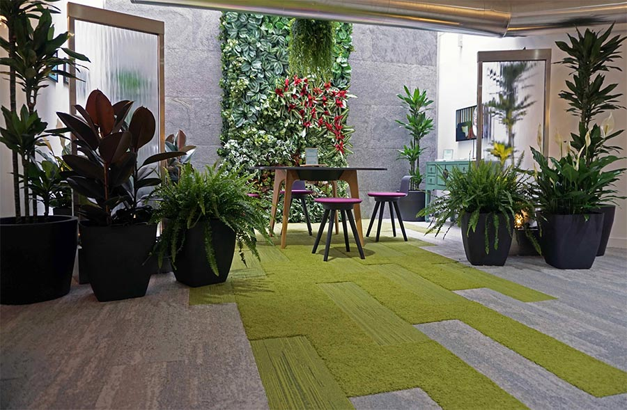 Biophilic display at Interface Showrook at Clerkenwell Design Week