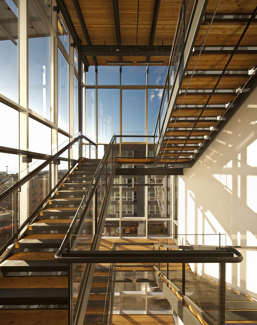 Stairs in Bullitt Center in Seattle offer plenty of light and shadows