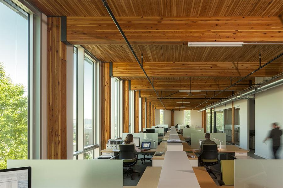 Mass Timber frame seen at Bullitt Center in Seattle