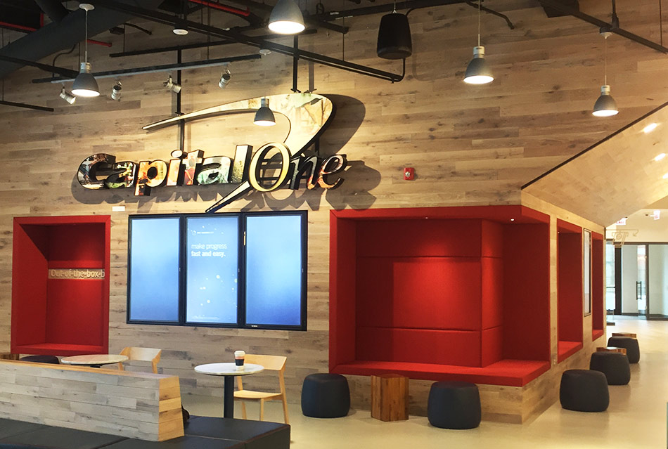 Reclaimed wood paneling and cladding at Capital One in Chicago