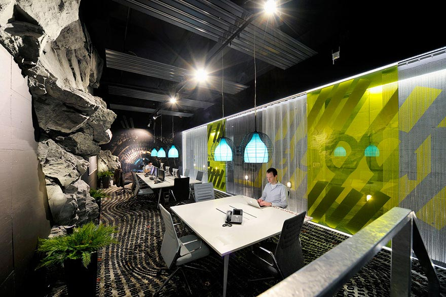 Google office with rock wall and greenery
