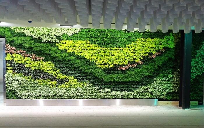 green wall office artificial living wall at sky in atlanta 12 examples of innovative walls terramai