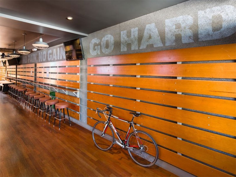 Hi Tops in San Francisco use reclaimed bleacher seating for a retro look