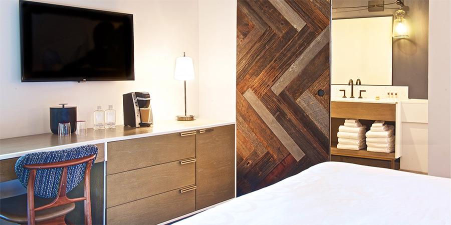 Hotel Becket in Lake Tahoe uses reclaimed wood