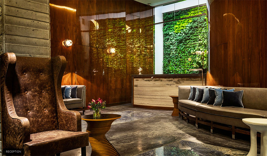 Living wall in Hotel Hugo, New York