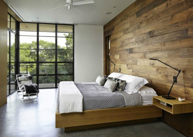 Hotel room uses reclaimed wood paneling