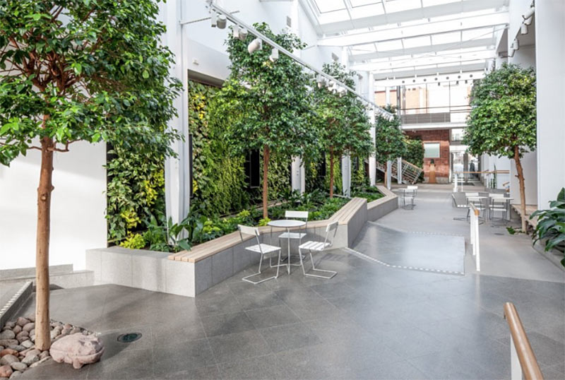 Lush trees in minimal, industrial space at Karolinska Institute
