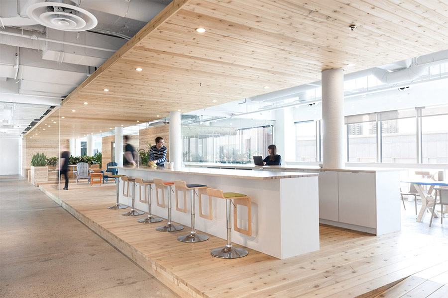 OHV's office connects workers using wood, vegetation, and natural light