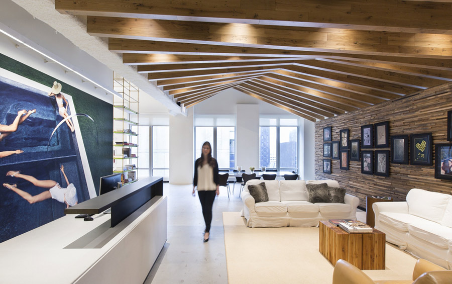 Reclaimed oak paneling at Sam Edelman's NYC Headquarters