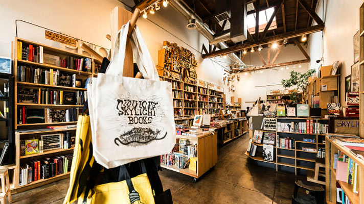 Skylights at Skylight Books in LA allow plenty of natural light