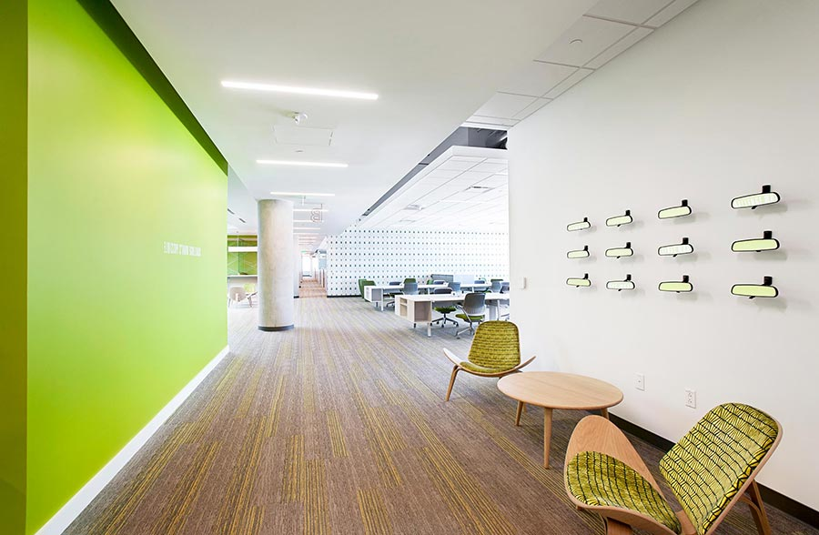 Toyota's Plano Texas campus offers a 50/50 mix of private and open workspaces