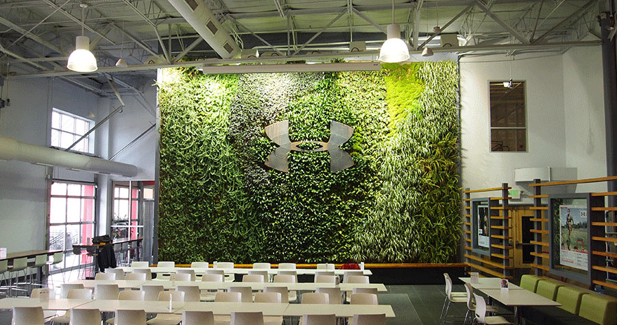 Under Armour logo embedded in living wall