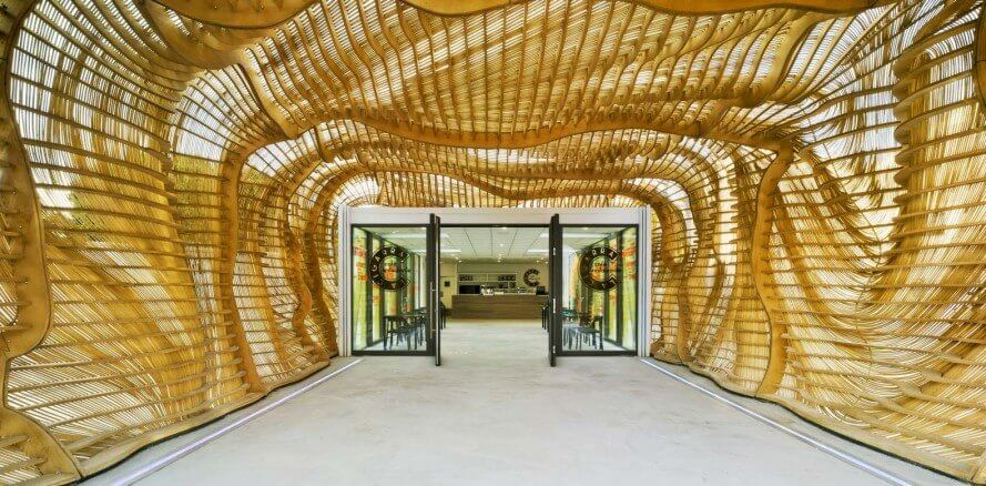 Crocheted wood exterior at pavilion in Spain