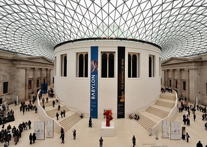 Biomorphic patterns like this geometric ceiling in this British Museum provide many wellness benefits