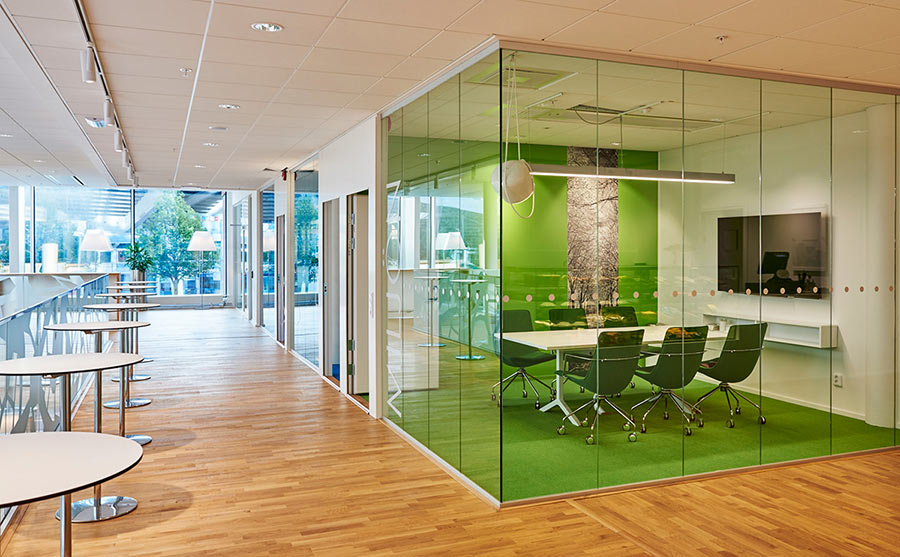 Sweco Gothenburg's green conference room