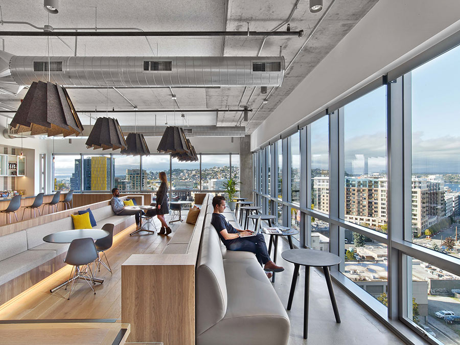 HBO's Seattle office uses reclaimed wood with plentiful window views