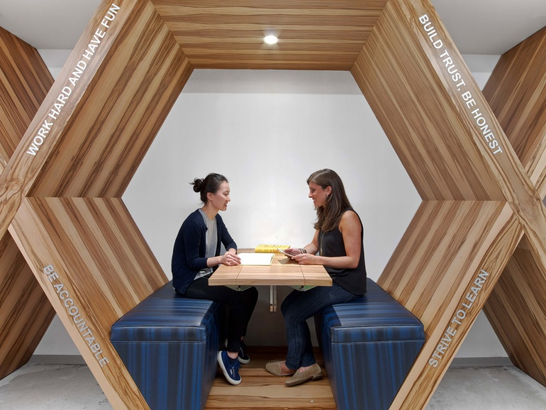 Biomorphic patterns like this hexagon seating are beneficial to occupant well-being