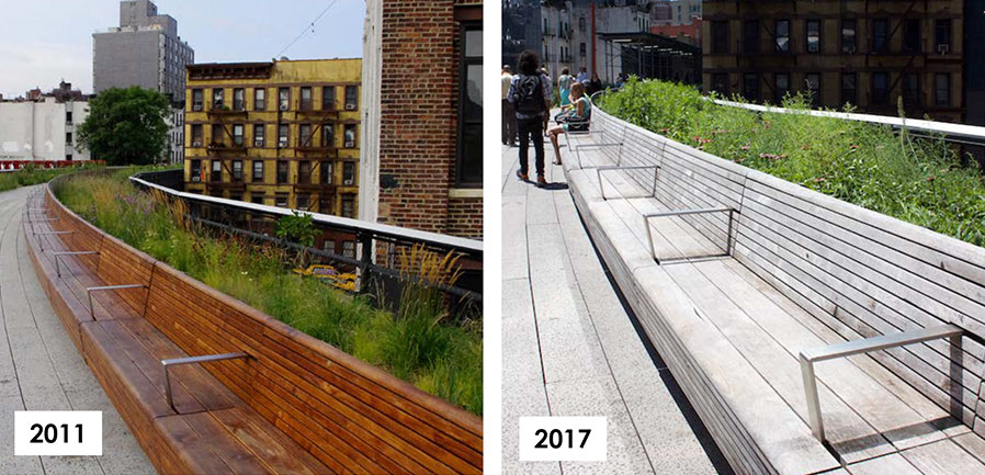 Example of Teak greying over time - The High Line, NYC