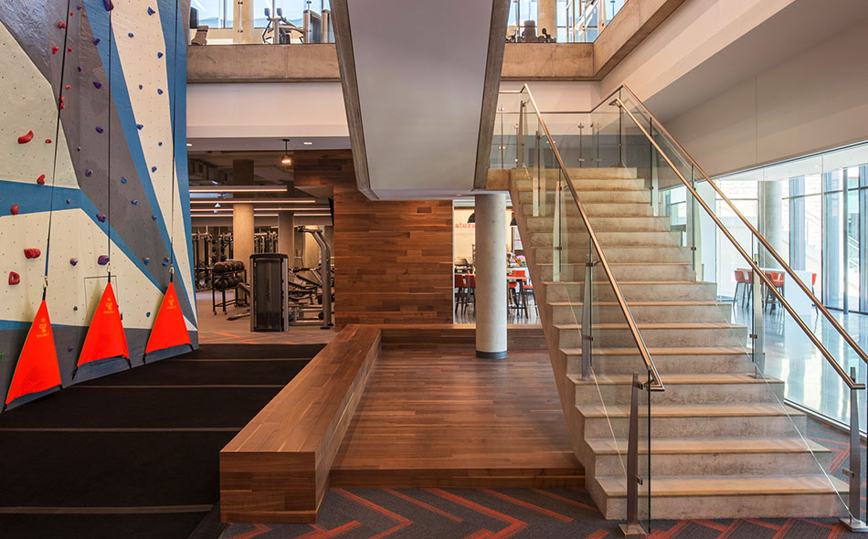 Reclaimed walnut flooring & paneling at Toyota's Texas HQ