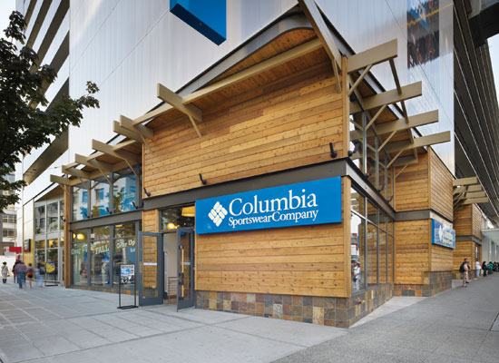 Cedar siding at Columbia Sportswear